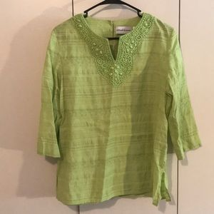 Lime Green 3/4 sleeve blouse